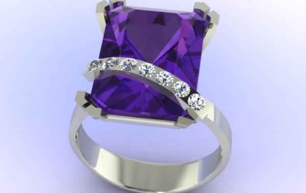 Anello ametista con fascia di diamanti in oro bianco 18kt.