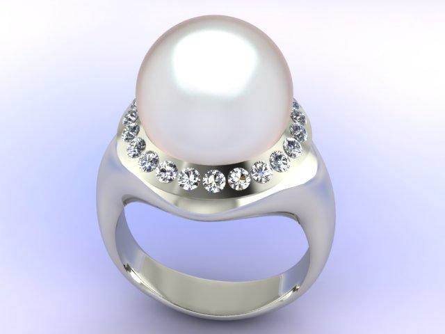Anello con perla contornata di diamanti in oro bianco 18kt.
