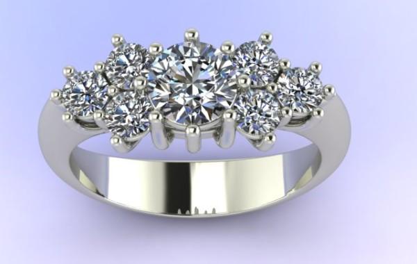 Anello diamanti in oro bianco 18kt.