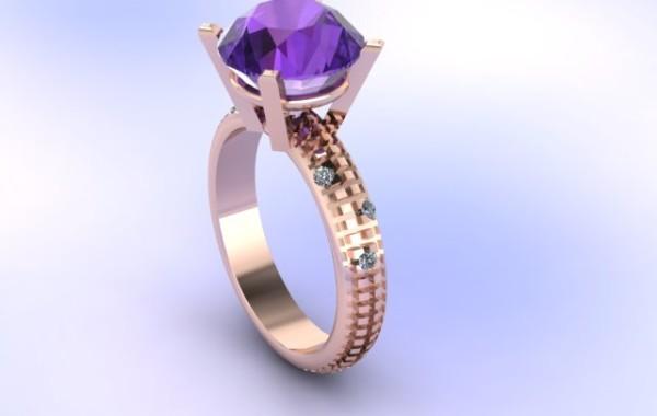 Anello con ametista e diamanti in oro rosè 18 kt.