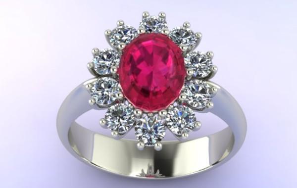 Anello con rubino e contorno di diamanti in oro bianco 18kt.